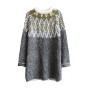 Rhombus Geometric Print Long Sleeve Longline Sweater