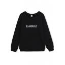 Letter Print Pullover Round Neck Long Sleeve Sweatshirt
