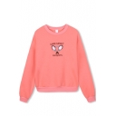 Tennis Racket & Letter Print Long Sleeve Sweatshirt