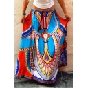 Tribal Print A-line Maxi High Waist Skirt
