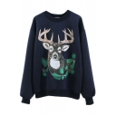 Cute Deer Print Round Neck Fleece Long Sleeve Sweatshirt