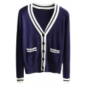 V-Neck Stripe Trims Double Pockets Long Sleeve Button Down Cardigan