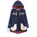 Hooded Crisscross Detail Chicken Pocket Design Tweed Coat