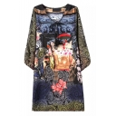 Tie Neck Elephant & Floral Print Long Sleeve Midi Dress