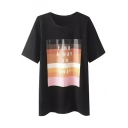 Color Block Letter Print Round Neck Short Sleeve Tee