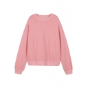 Plain Round Neck Loose Pullover Long Sleeve Sweatshirt