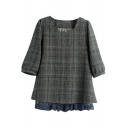 Round Neck Plaid Half Sleeve Lace Patchwork Blouse