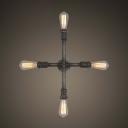 Indoor Four Light Cross Shape LED Wall Lamp in Black Iron Finish
