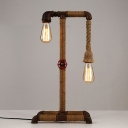 Weathered Iron 2-Light Burlap Industrial LED Table Lamp with Red Valve Accents
