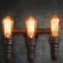 Distressed Iron 3 Lights Industrial Mini Pipe LED Wall Sonces