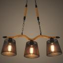 Industrial Burlap 3 Lights 1 Tier LED Island Chandelier with Metal Mesh