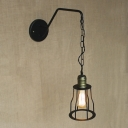 Adjustable Chain 1 Light Hallway LED Hanging Wall Sconce in Matte Black Finish