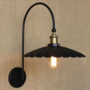 Matte Black Gooseneck 1 Light LED Wall Sconce with Floral Round Metal Shade