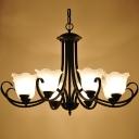Wrought Iron 6 Light Morning Glory Dining Room LED Chandelier in Satin Black Finish
