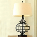 Satin Black 1 Light Metal Cage LED Table Lamp