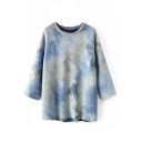 Round Neck Batwing Loose Tie-Dye Ombre Sweatshirt