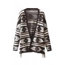 Cocoon Neck Geometric Hem Long Sleeve Tassel Detail Cardigan