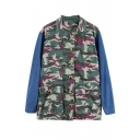 Lapel Single Breasted Camouflage Print Color Block Denim Coat
