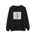 Bell & Letter Print Color Block Long Sleeve Sweatshirt