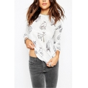 Round Neck White Animal Print Long Sleeve Curved Hem Tee