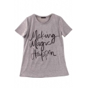 Round Neck Short Sleeve Letter Print Pullover Gray Tee