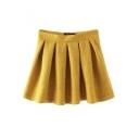 Plain Zip Side Lace Pleated A-Line Mini Skirt