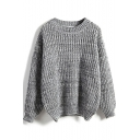 Round Neck Plain Long Sleeve Chunky Knit Sweater