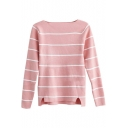 Boat Neck Long Sleeve Stripes Slim Soft Sweater
