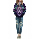 Purple Character 3D Print Hooded Pockets Pullover Sweatshirt