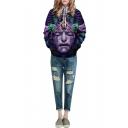 Purple Character 3D Print Hooded Pockets Pullover Sweatshirt