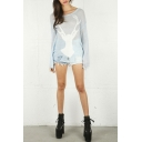 Deer Patterned Cutout Sheer Pullover Batwing Sleeve Sweater