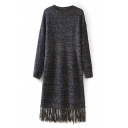 Round Neck Color Point Detail Tassel Hem Long Sweater