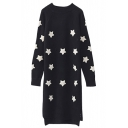 Star Patterned Long Sleeve Split Side Dip Hem Midi Knit Dress