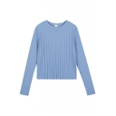 Round Neck Long Sleeve Plain Stripe Jacquard Slim Sweater