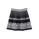 High Waist Geometric Jacquard Color Block Knit Mini Skirt