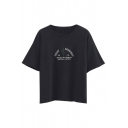 Letter & Cactus Embroidery Short Sleeve Loose Tee