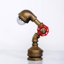 Mini LED Pipe Nightlight with Red Valve in Brass Finish