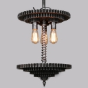 Brushed Iron 3 Lights Gear Industrial Large LED Hanging Pendant