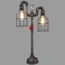 28''H Mottled Iron 2 Lights Pipe LED Accent Lamp with Cage Shade