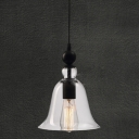 Vintage Single Light LED Mini Pendant with Clear Glass  Bell Shade
