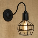 Black 1 Light LED Wall Sconce with Cage Shade