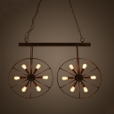 Industrial Loft Wrought Iron Wheel LED Island Chandelier