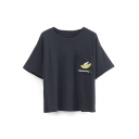 Single Pocket Cartoon & Letter Embroidery Short Sleeve Tee