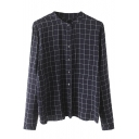 Stand Up Neck Plaid Button Down Long Sleeve Loose Shirt
