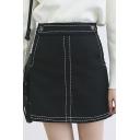 Plain Double Pockets Mini Tweed Belt Detail Skirt