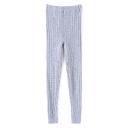Elastic Waist Plain Cable Knit Skinny Leggings