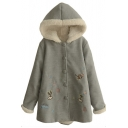 Lamb Wool Lining Hooded Single Breasted Tweed Loose Coat