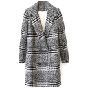 Notched Lapel Double Breasted Plaid Long Tweed Coat
