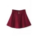 Plain Double Buttons A-Line Mini Tweed Elastic Waist Skirt