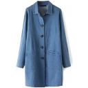 Plain Single Breasted Pockets Lapel Denim Long Coat